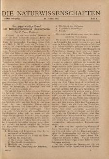 Die Naturwissenschaften. Wochenschrift..., 11. Jg. 1923, 26. Januar, Heft 4.
