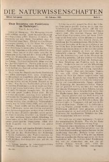 Die Naturwissenschaften. Wochenschrift..., 11. Jg. 1923, 23. Februar, Heft 8.
