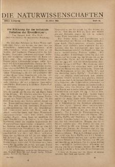 Die Naturwissenschaften. Wochenschrift..., 11. Jg. 1923, 23. März, Heft 12.