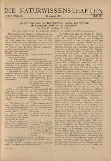 Die Naturwissenschaften. Wochenschrift..., 11. Jg. 1923, 24. August, Heft 34.