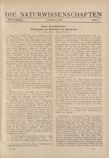 Die Naturwissenschaften. Wochenschrift..., 11. Jg. 1923, 7. September, Heft 36.