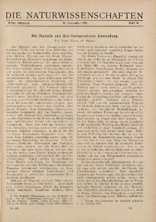Die Naturwissenschaften. Wochenschrift..., 11. Jg. 1923, 14. Dezember, Heft 50.