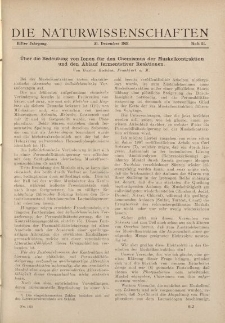 Die Naturwissenschaften. Wochenschrift..., 11. Jg. 1923, 21. Dezember, Heft 51.