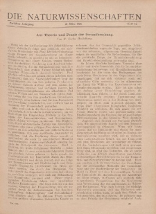 Die Naturwissenschaften. Wochenschrift..., 12. Jg. 1924, 21. März, Heft 12.