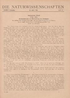 Die Naturwissenschaften. Wochenschrift..., 12. Jg. 1924, 25. April, Heft 17.