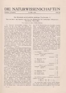 Die Naturwissenschaften. Wochenschrift..., 12. Jg. 1924, 16. Mai, Heft 20.