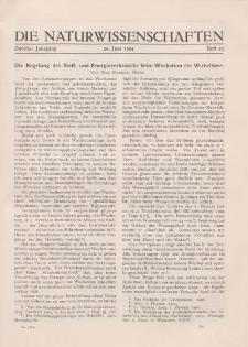 Die Naturwissenschaften. Wochenschrift..., 12. Jg. 1924, 20. Juni, Heft 25.