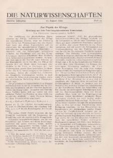 Die Naturwissenschaften. Wochenschrift..., 12. Jg. 1924, 15. August, Heft 33.