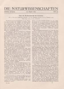 Die Naturwissenschaften. Wochenschrift..., 12. Jg. 1924, 29. August, Heft 35.