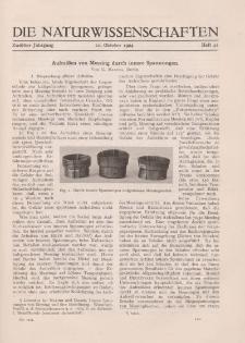 Die Naturwissenschaften. Wochenschrift..., 12. Jg. 1924, 10. Oktober, Heft 41.