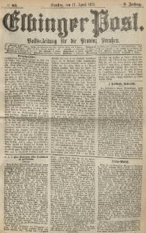 Elbinger Post, Nr. 85, Dienstag 13 April 1875, 2 Jh