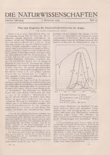 Die Naturwissenschaften. Wochenschrift..., 12. Jg. 1924, 7. November, Heft 45.