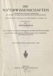 Die Naturwissenschaften. Wochenschrift (Inhaltsverzeichnis, Sachregister, Autorenregister), 1928
