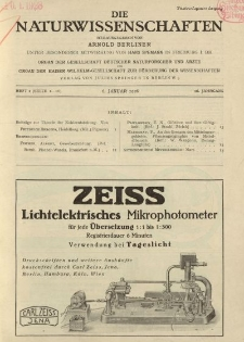 Die Naturwissenschaften. Wochenschrift..., 16. Jg. 1928, 6. Januar, Heft 1.