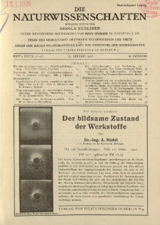 Die Naturwissenschaften. Wochenschrift..., 16. Jg. 1928, 13. Januar, Heft 2.