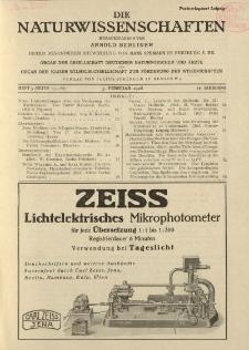 Die Naturwissenschaften. Wochenschrift..., 16. Jg. 1928, 3. Februar, Heft 5.