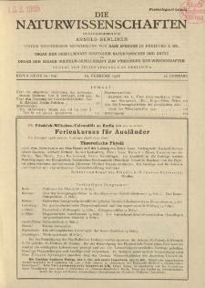 Die Naturwissenschaften. Wochenschrift..., 16. Jg. 1928, 10. Februar, Heft 6.