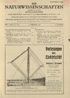 Die Naturwissenschaften. Wochenschrift..., 16. Jg. 1928, 17. Februar, Heft 7.