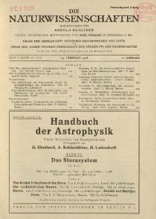 Die Naturwissenschaften. Wochenschrift..., 16. Jg. 1928, 24. Februar, Heft 8.