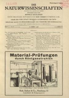 Die Naturwissenschaften. Wochenschrift..., 16. Jg. 1928, 16. März, Heft 11.
