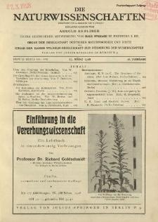 Die Naturwissenschaften. Wochenschrift..., 16. Jg. 1928, 23. März, Heft 12.