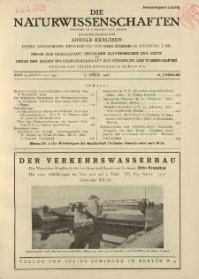 Die Naturwissenschaften. Wochenschrift..., 16. Jg. 1928, 6. April, Heft 14.