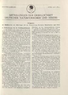 Mitteilungen der Gesellschaft Deutscher Naturforscher und Aerzte, 5. Jg. 1928, April, Nr 1.