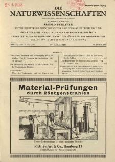 Die Naturwissenschaften. Wochenschrift..., 16. Jg. 1928, 27. April, Heft 17.