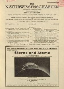 Die Naturwissenschaften. Wochenschrift..., 16. Jg. 1928, 11. Mai, Heft 19.