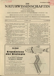 Die Naturwissenschaften. Wochenschrift..., 16. Jg. 1928, 18. Mai, Heft 20.