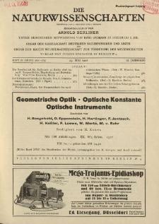 Die Naturwissenschaften. Wochenschrift..., 16. Jg. 1928, 25. Mai, Heft 21.