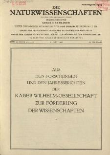 Die Naturwissenschaften. Wochenschrift..., 16. Jg. 1928, 1. Juni, Heft 22.