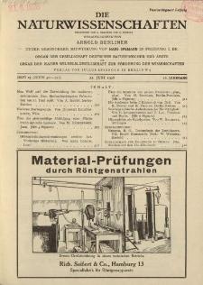 Die Naturwissenschaften. Wochenschrift..., 16. Jg. 1928, 22. Juni, Heft 25.