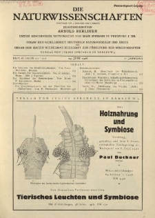 Die Naturwissenschaften. Wochenschrift..., 16. Jg. 1928, 29. Juni, Heft 26.
