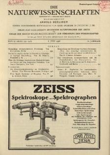 Die Naturwissenschaften. Wochenschrift..., 16. Jg. 1928, 6. Juli, Heft 27.
