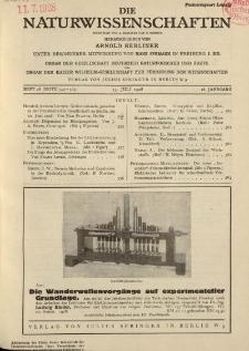Die Naturwissenschaften. Wochenschrift..., 16. Jg. 1928, 13. Juli, Heft 28.