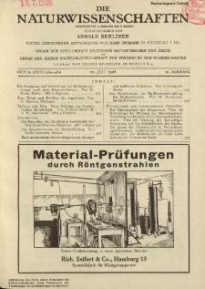 Die Naturwissenschaften. Wochenschrift..., 16. Jg. 1928, 20. Juli, Heft 29.