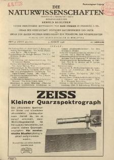 Die Naturwissenschaften. Wochenschrift..., 16. Jg. 1928, 3. August, Heft 31.