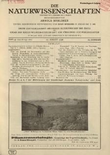 Die Naturwissenschaften. Wochenschrift..., 16. Jg. 1928, 17. August, Heft 33.