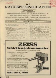 Die Naturwissenschaften. Wochenschrift..., 16. Jg. 1928, 7. September, Heft 36.