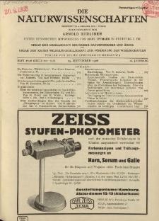 Die Naturwissenschaften. Wochenschrift..., 16. Jg. 1928, 14. September, Heft 37/38.