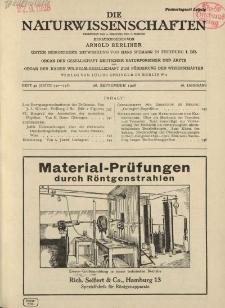 Die Naturwissenschaften. Wochenschrift..., 16. Jg. 1928, 28. September, Heft 39.