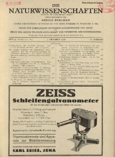 Die Naturwissenschaften. Wochenschrift..., 16. Jg. 1928, 5. Oktober, Heft 40.