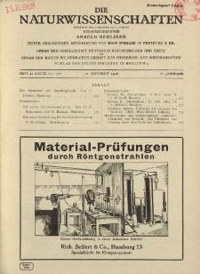 Die Naturwissenschaften. Wochenschrift..., 16. Jg. 1928, 12. Oktober, Heft 41.