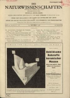 Die Naturwissenschaften. Wochenschrift..., 16. Jg. 1928, 19. Oktober, Heft 42.
