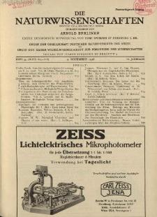 Die Naturwissenschaften. Wochenschrift..., 16. Jg. 1928, 2. November, Heft 44.