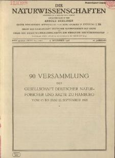 Die Naturwissenschaften. Wochenschrift..., 16. Jg. 1928, 9. November, Heft 45-47.