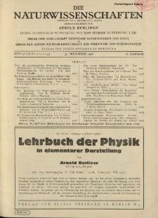 Die Naturwissenschaften. Wochenschrift..., 16. Jg. 1928, 30. November, Heft 48.