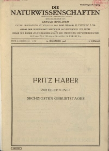 Die Naturwissenschaften. Wochenschrift..., 16. Jg. 1928, 14. Dezember, Heft 50.