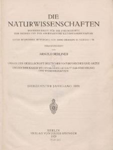 Die Naturwissenschaften. Wochenschrift (Inhaltsverzeichnis, Sachregister, Autorenregister), 1929